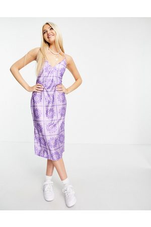 ASOS Strappy slinky midi slip dress in lilac bandana print-Purple