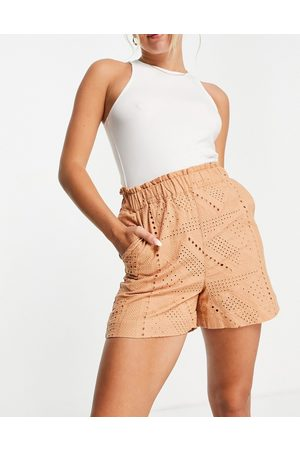 Y.A.S Organic cotton broderie shorts co-ord in sand-Neutral