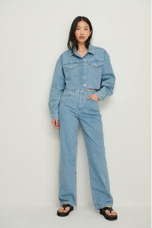 NA-KD Dame Straight - Pinnestripet Rette Jeans