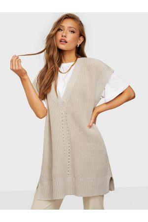 Object Dame Strikkegensere - Objhalsey Knit Waistcoat 116 Silver Gray