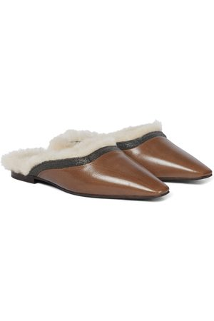 Brunello Cucinelli Leather and shearling slippers