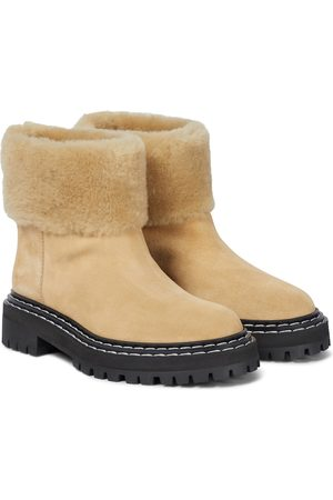 Proenza Schouler Shearling-trimmed suede ankle boots