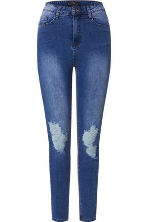 Missguided Dame High waist - Jeans 'SINNER DISTRESS KNEE CUT HEM HIGH WAISTED SKINNY JEAN