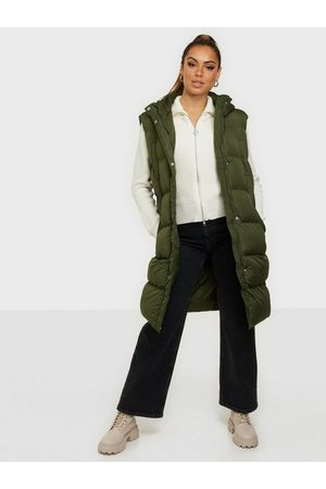 Missguided Dame Vester - Recycled Longline Padded Gilet Khaki