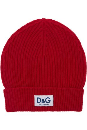 Dolce & Gabbana D&g Patch Wool Knit Beanie Hat