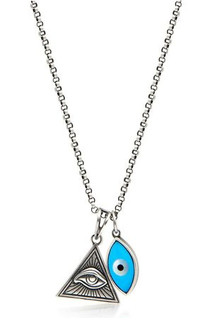 Nialaya Men's Silver Necklace with Turquoise Evil Eye and Eye of Ra Pendant