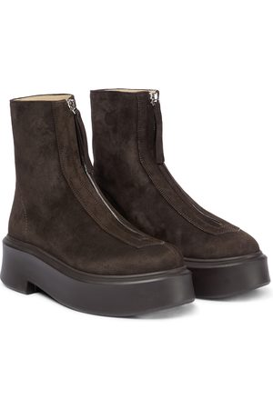 The Row Zipped Boot suede boots