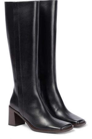 The Row Dame Høye støvletter - Patch knee-high leather boots