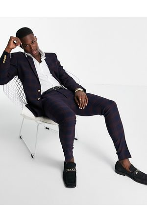 ASOS Herre Chinos - Super skinny suit trousers in burgundy mid scale check with gold button-Red
