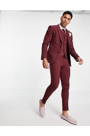 ASOS Wedding super skinny suit trousers in burgundy micro texture-Red