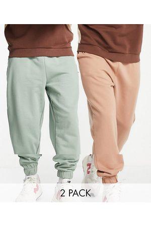 ASOS Organic oversized joggers 2 pack in khaki/brown-Multi