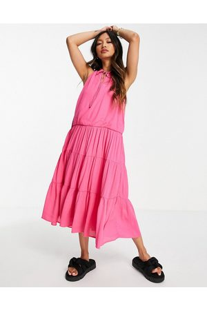 Y.A.S Dame Midikjoler - Midi sleeveless dress with tie neck and tiered skirt in pink