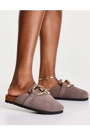 ASRA Fiscal clogs in mauve suede with chain detail-Neutral