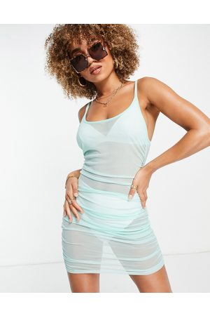 South Beach Stretch mesh ruched side strappy dress-Blue