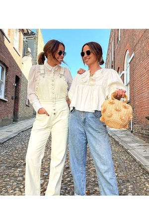 Labelrail X Collyer Twins relaxed dungarees with broderie trim-White