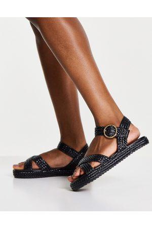 Schuh Dame Platåsandaler - Verity woven flatform sandals in black