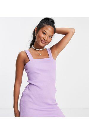 ASOS Dame Bodycon kjoler - Petite square neck bodycon in rib in lilac-Purple