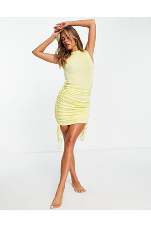 ASOS Ruched midi beach dress in yellow slinky texture