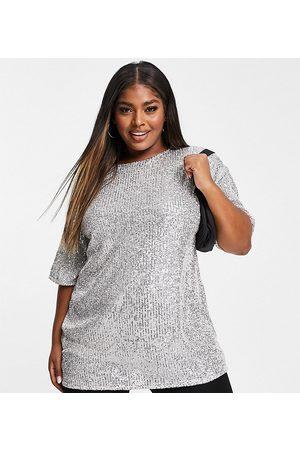 ASOS Dame Kortermede - Curve oversized sequin t-shirt in silver