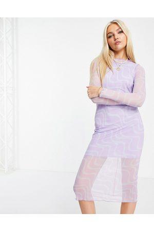 ASOS Dame Hverdagskjoler - Mesh long sleeve midi dress in purple swirl print