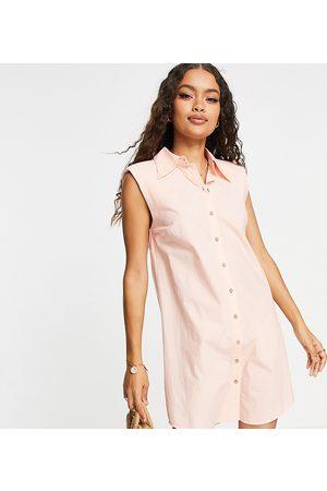Y.A.S Organic cotton sleeveless mini shirt dress peach pink