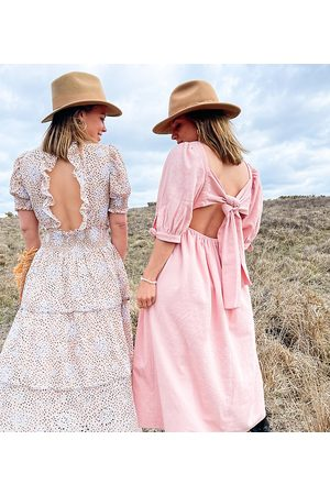 Labelrail X Collyer Twins midi dress with tie back detail-Pink