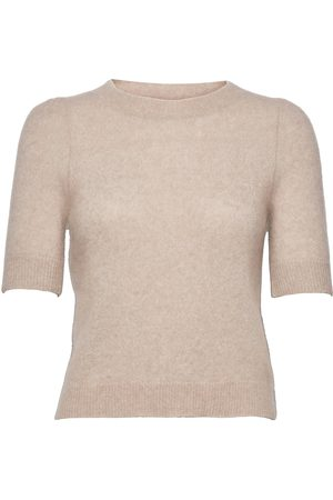 Cathrine hammel Soft Sweater W/Short Sleeve T-shirts & Tops Knitted T-shirts/tops Beige