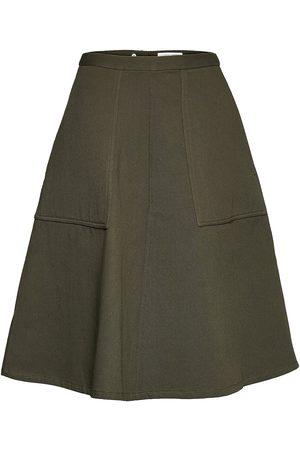 Cathrine hammel Twill Midi Skirt W/Pockets Knelangt Skjørt