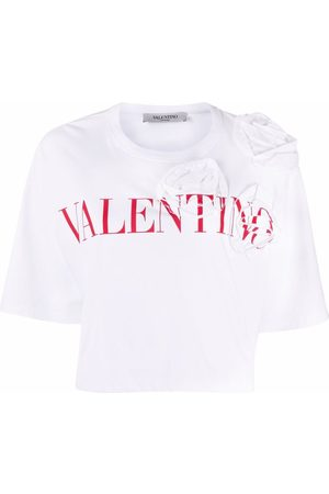 VALENTINO Dame Kortermede - Floral-applique logo-print T-shirt