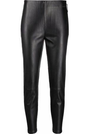 Calvin Klein Dame Leggings - Cropped faux-leather leggings