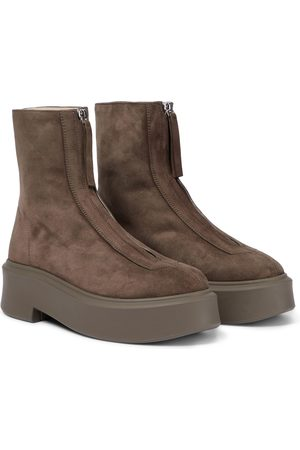 The Row Zipped Boot 1 suede boots