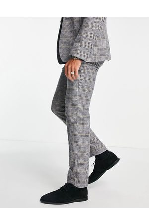 ASOS Herre Chinos - Slim wool mix suit trousers in prince of wales check-Black