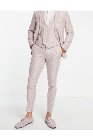 ASOS Super skinny suit trousers in pink dogstooth