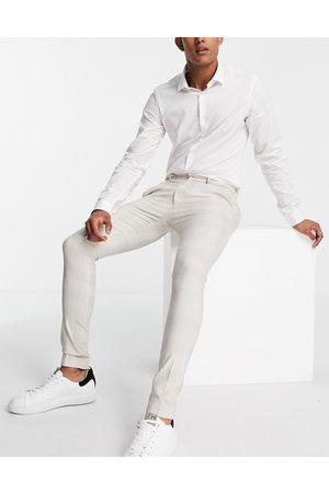 ASOS Herre Chinos - Extreme super skinny check smart trouser-White