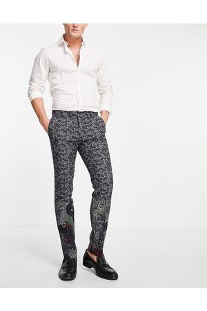 Twisted Tailor Herre Chinos - Suit trousers in navy jacquard with crane and floral border detail