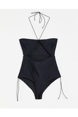 ASOS Dame Badedrakter - 00s micro strapping bandeau swimsuit in slinky black