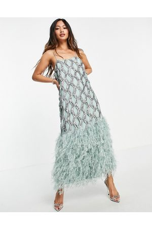 ASOS Geo sequin cutwork midi dress with feather hem-Green