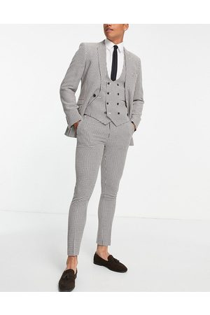 ASOS Herre Chinos - Super skinny suit trousers in brown dogstooth