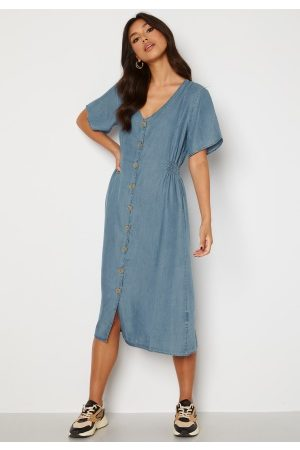 ONLY Nikoline Smock Denim Dress Medium Blue Denim XS