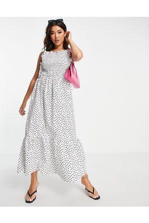 ASOS Dame Mønstrede kjoler - Shirred bodice cotton midi smock sundress in mono spot print-Multi