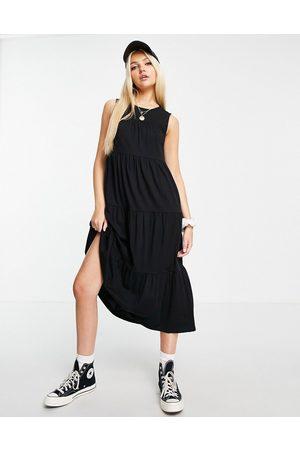 ASOS Dame Hverdagskjoler - Sleeveless tiered midi smock dress in black
