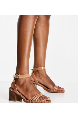 ASOS Wide Fit Washington mid heeled sandals in -Neutral