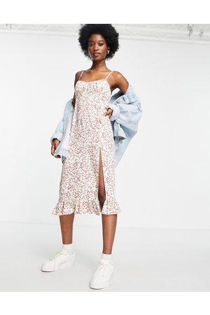 Miss Selfridge Dame Bodycon kjoler - Ruched bust midi slip dress in leopard print-Brown