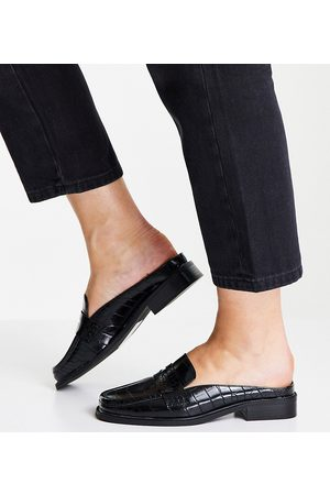 ASOS Wide Fit Maximal 90's mule loafers in black croc
