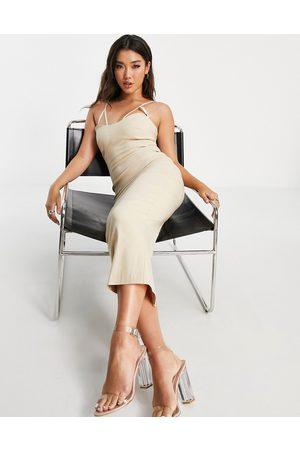 Vesper Bodycon midi dress with cut out detain in ecru-White