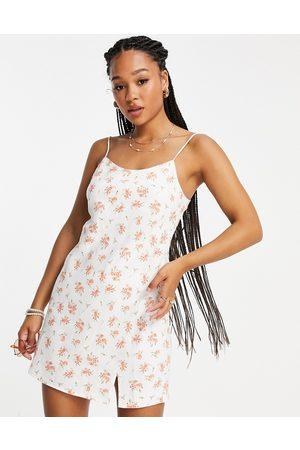 ASOS Mini slip dress in white floral print-Multi