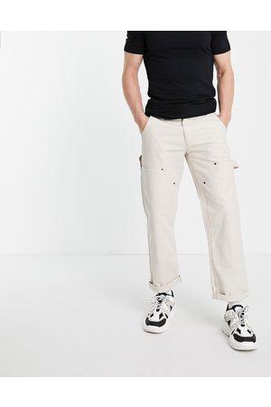 Topman Carpenter trousers in ecru-White