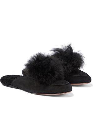Aquazzura Foxy pompom suede slippers