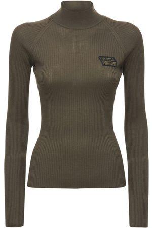 VERSACE Logo Wool Rib Knit Turtleneck Sweater