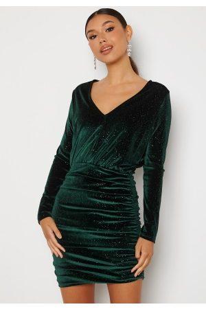 BUBBLEROOM Hillie sparkling velvet dress Green XS